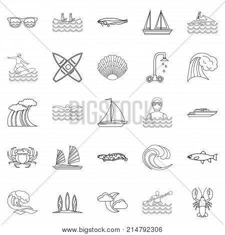 Aqua icons set. Outline set of 25 aqua vector icons for web isolated on white background