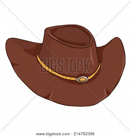 Vector Single Cartoon Cowboy Hat On White Bcakground