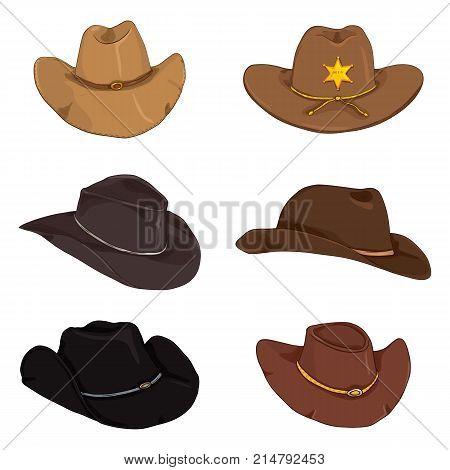 Vector Set Of Cartoon Color Cowboy Hats