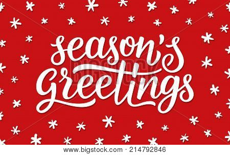 Seasons greetings vector photo free trial bigstock seasons greetings calligraphy lettering text on red background with white doodle snowflakes retro greeting card m4hsunfo