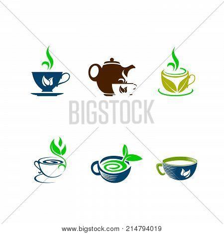 set logo icon, Tea cup logo template vector icon illustration design