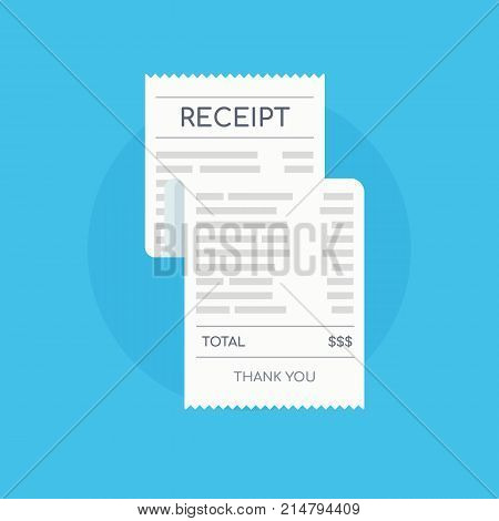 Icon shopping receipt. Invoice sign. Paying bills. Vector illustration in flat style.