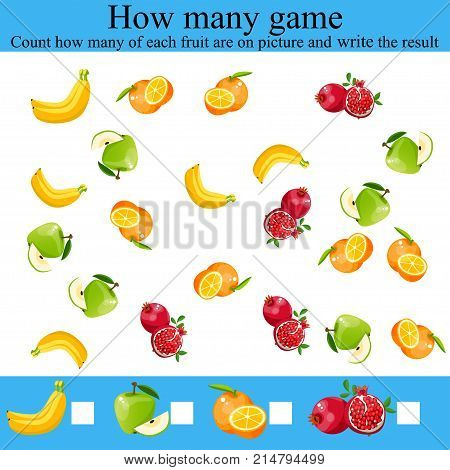 Counting Game for Preschool Children. Learning mathematics, numbers. Mathematics task, worksheet. Tasks for counting for preschool kids, children. how many objcets game