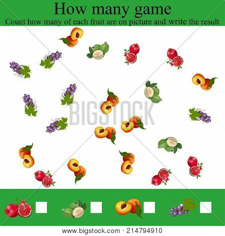 Learning mathematics, numbers. Mathematics task, worksheet.Tasks for counting for preschool kids, children. Counting Game for Preschool Children. how many objcets game