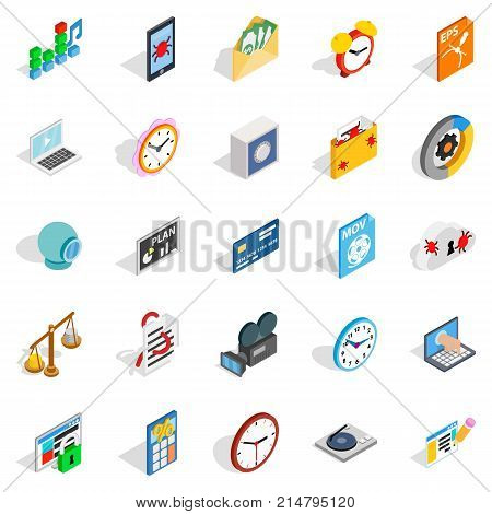 Broadcast icons set. Isometric set of 25 broadcast vector icons for web isolated on white background