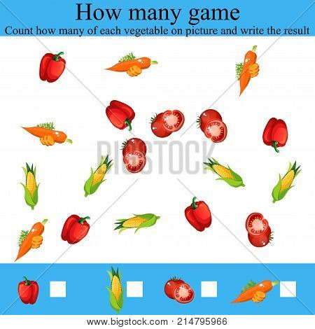 Counting Game for Preschool Children. Learning mathematics, numbers. Mathematics task, worksheet.Tasks for counting for preschool kids, children. how many objcets game