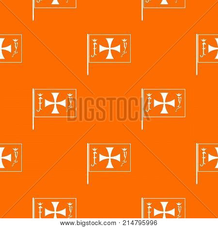 Flag of Columbus pattern repeat seamless in orange color for any design. Vector geometric illustration
