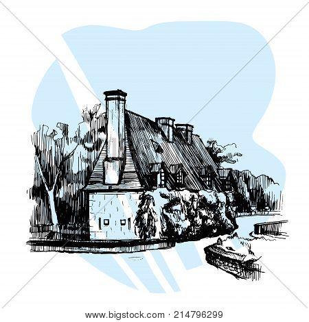 Chateau de Chenonceau, Loire Valley, France Vector illustration