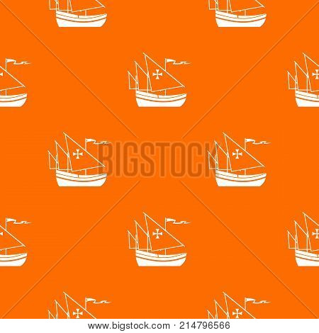 Ship of Columbus pattern repeat seamless in orange color for any design. Vector geometric illustration