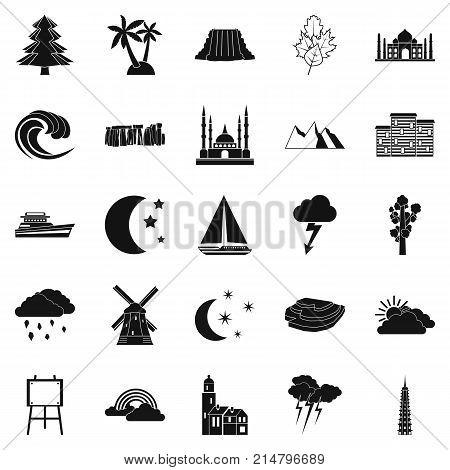 Dusk icons set. Simple set of 25 dusk vector icons for web isolated on white background