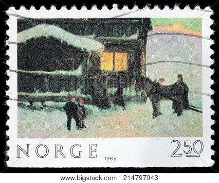 LUGA RUSSIA - AUGUST 20 2017: A stamp printed by NORWAY shows painting The Guests Arrive by famous Norwegian painter Gustav Wentzel circa 1983