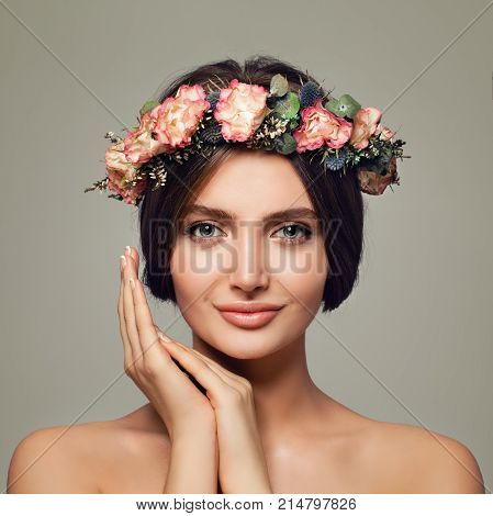 Young Woman Spa Model with Nude Makeup on Background