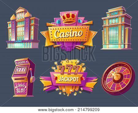 Casino buildings, signboards, gaming machine and game roulette, set of vector cartoon badges, stickers, tags. Icons for mobile app with games of chance, ad banners for gambling business