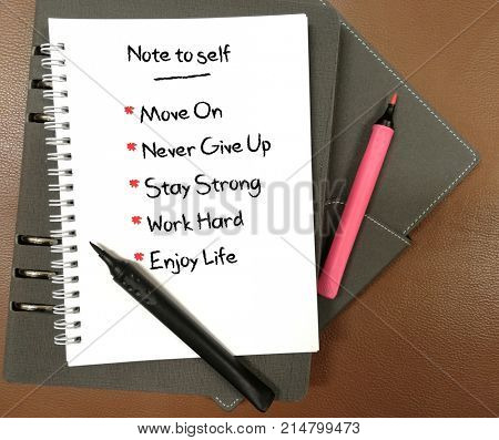 Note to self, written on notebook