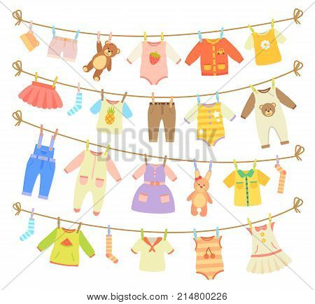 Various items of baby clothes and teddy bears hanging on rope isolated vector illustration on white background. Laundry held by plastic pegs drying
