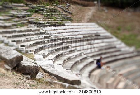Waiting for the play in ancient amphitheater
