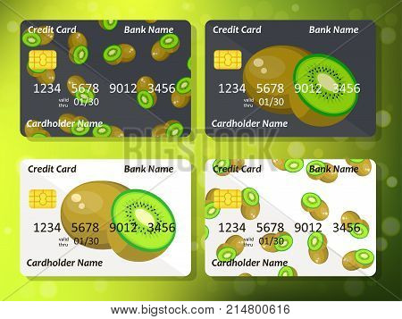 Bank credit card design with sweet kiwi. Original credit or debit card design with kiwi. Great idea for credit or gift card design