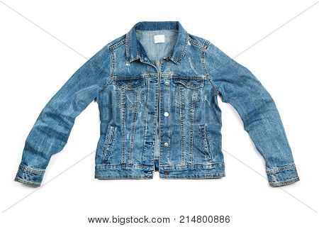Blue jeans jacket isolated on white background