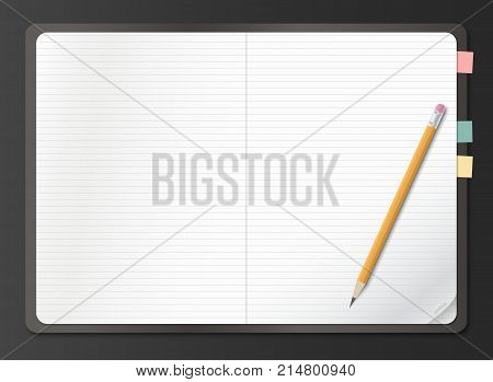 Realistic notebook, earmark lined white paper sheet with pencil on black background. Vector illustration.
