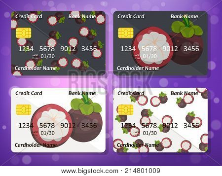 Bank credit card design with sweet mangosteen. Original credit or debit card design with mangosteen. Great idea for credit or gift card design