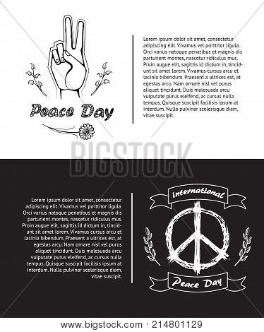 Two International Peace Day posters. Vector illustration contains colorless banner with symbols like hand surrounded by spikelets and hippie icon