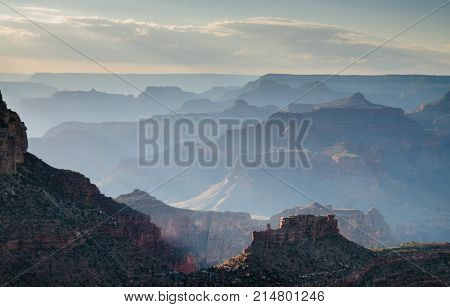 The Grand Canyon, as seen from the south rim, near Grand Canyon Village, in early August.