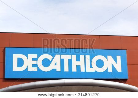 Bourgoin, France - June 26, 2017: Decathlon sign on a wall.Decathlon is a french company and one of the world's largest sporting goods retailers