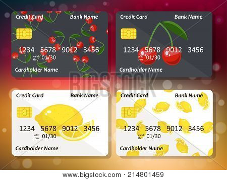 Bank credit card design with sweet cherry and lemon. Original credit or debit card design with cherry and lemon. Great idea for credit or gift card design