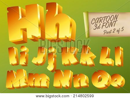 Vector 3D Gold Font in Cartoon Style. Comic Yellow Isometric Typeset for Childrens Playground Mobile Game App Poster Banner. Funny and Cute English Alphabet Illustration. Colorful Type.