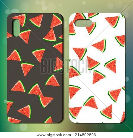 Sweet juicy whole watermelon on back side of smarphone. phone cover design. Best choice for telephone cover or case design