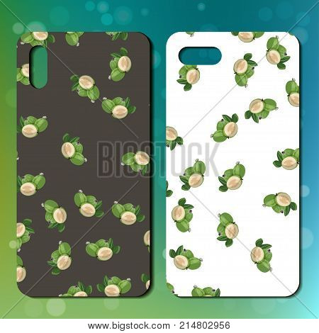 Sweet juicy whole feijoa on back side of smarphone. phone cover design. Best choice for telephone cover or case design