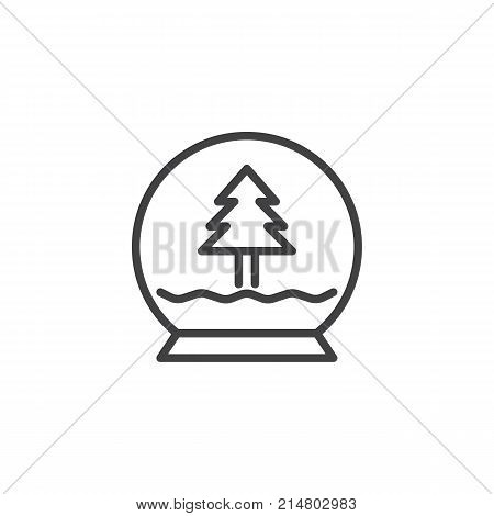 Christmas crystal snow globe with xmas tree line icon, outline vector sign, linear style pictogram isolated on white. Symbol, logo illustration. Editable stroke