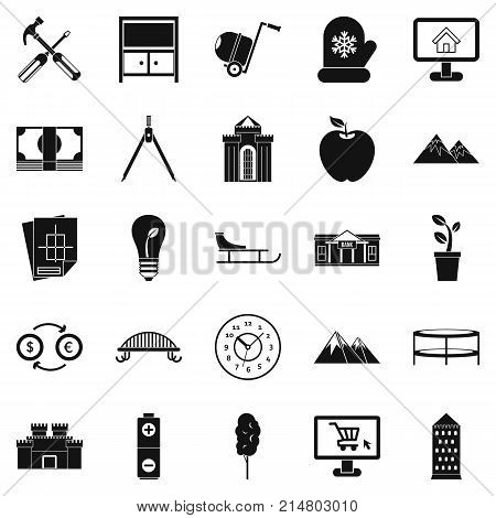 Apartment house icons set. Simple set of 25 apartment house vector icons for web isolated on white background