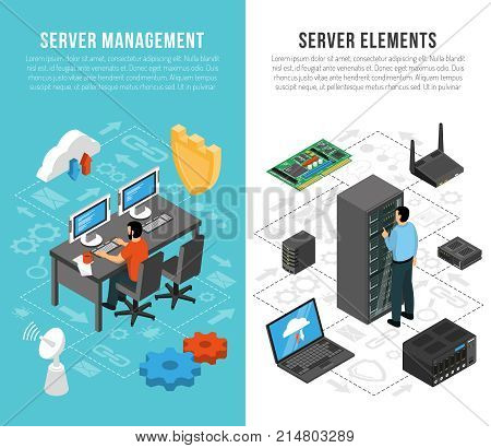 Datacenter vertical banners with server management and elements of server equipment isometric flowcharts vector illustration poster