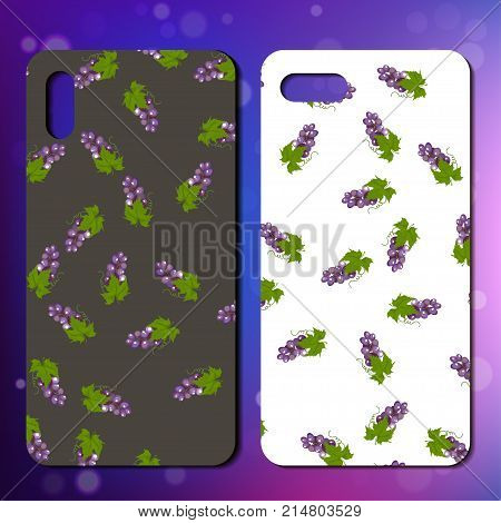 Original grape smartphone cover design on colorful bokeh background. Best design for phone case or cover