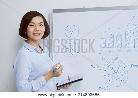 Smiling financial manager conducting presentation in office