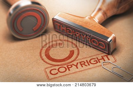 3D illustration of two rubber stamps with copyright word and symbol over kraft paper background Concept of copyrighted material