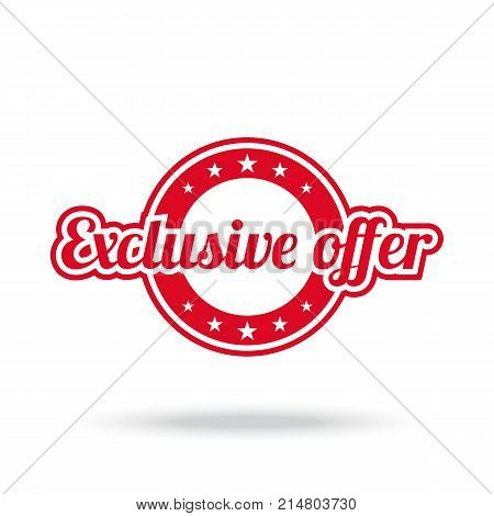 Exclusive offer label. Red color, isolated on white. Vector illustration.