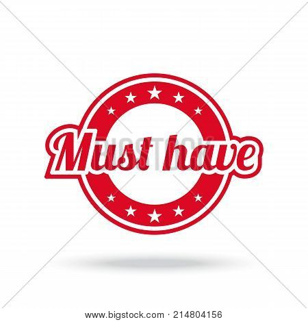 Must have label. Red color, isolated on white. Vector illustration.