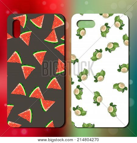 Sweet juicy whole watermelon and feijoa on back side of smarphone. phone cover design. Best choice for telephone cover or case design