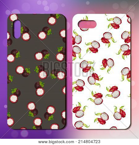 smartphone cover design with sweet mangosteen and pitahaya. telephone cover design with mangosteen. Great idea for cover or case