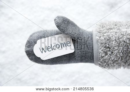 Wool Glove With Label With English Text Welcome. White Snow Background.