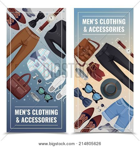 Two colored men accessories vertical banner set with men s clothing and accessories description vector illustration