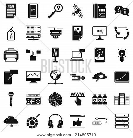 Cloud storage icons set. Simple style of 36 cloud storage vector icons for web isolated on white background