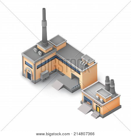 Isometric industrial area concept with manufacturing and warehouse buildings on white background isolated vector illustration