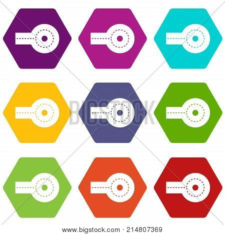 Circular impasse icon set many color hexahedron isolated on white vector illustration