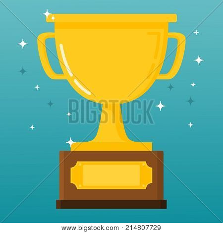 Gold cup of the winner of sports competitions. Sports trophy of the champion. First place. In the flat a vector. Golden bowl. An award for athletes