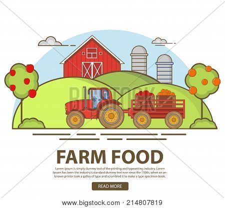 Agriculture garden apples and oranges.Harvesting by the tractor.Natural rural landscape.Barn and the granary. Hills with fruit trees.A design element for the websites.Organic products,farm fresh food