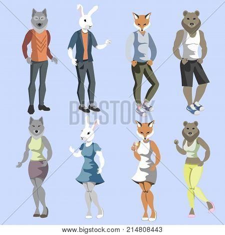 Set anthropomorphic animals dressed fashion animals. Vector illustration