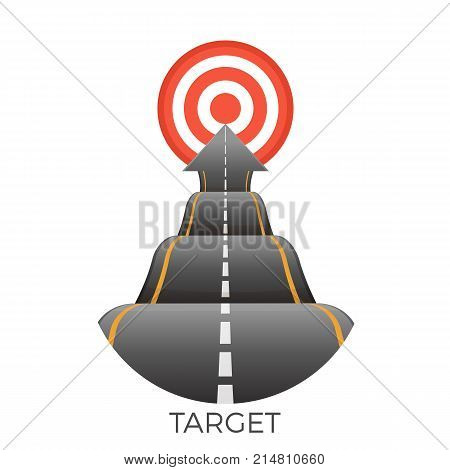 Red target at the end of bumpy road going to goal vector illustration isolated on white background. Motion to success aspect, speedway going ahead